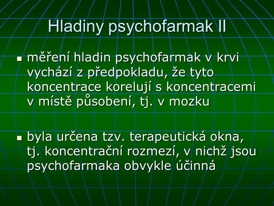 Hladiny psychofarmak II měření hladin psychofarmak v krvi vychází z předpokladu, že tyto koncentrace korelují s koncentracemi v místě působení, tj. v