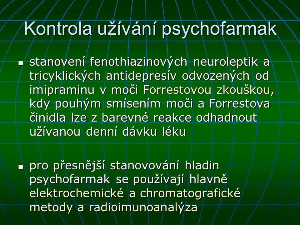 Kontrola užívání psychofarmak stanovení fenothiazinových neuroleptik a tricyklických antidepresív odvozených od imipraminu v moči Forrestovou zkouškou