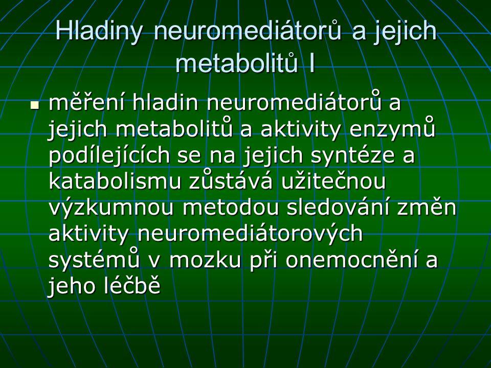 Hladiny neuromediátorů a jejich metabolitů I měření hladin neuromediátorů a jejich metabolitů a aktivity enzymů podílejících se na jejich syntéze a ka