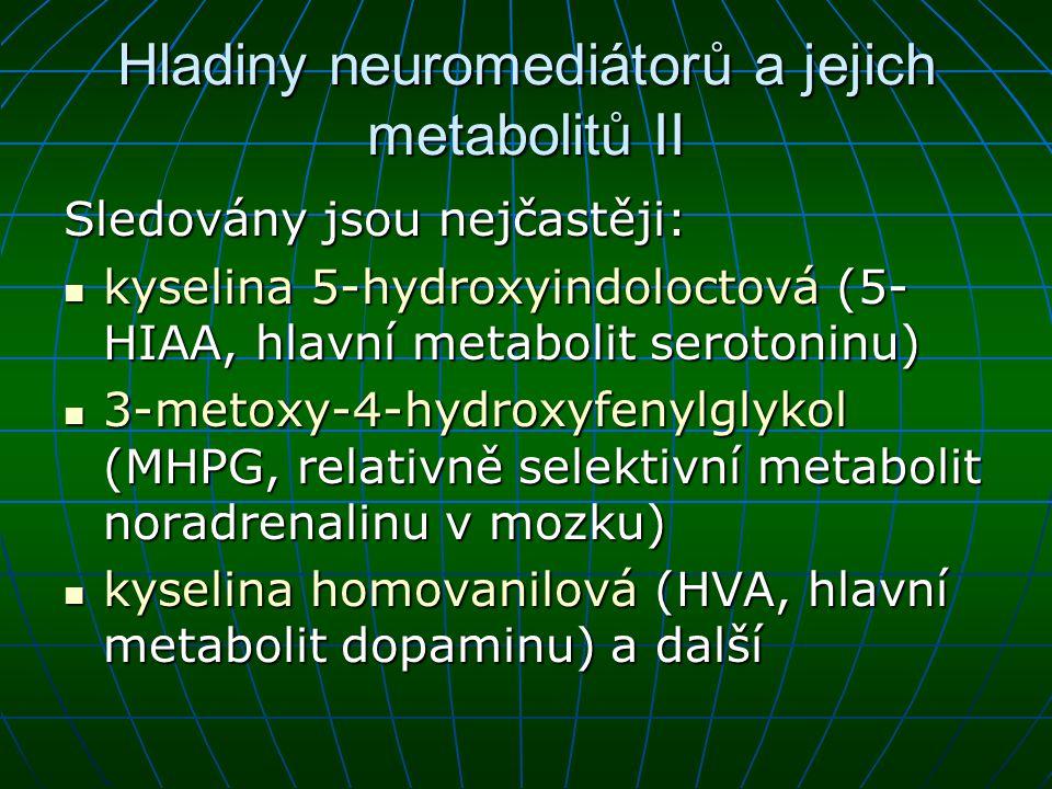 Hladiny neuromediátorů a jejich metabolitů II Sledovány jsou nejčastěji: kyselina 5 ‑ hydroxyindoloctová (5- HIAA, hlavní metabolit serotoninu) kyseli