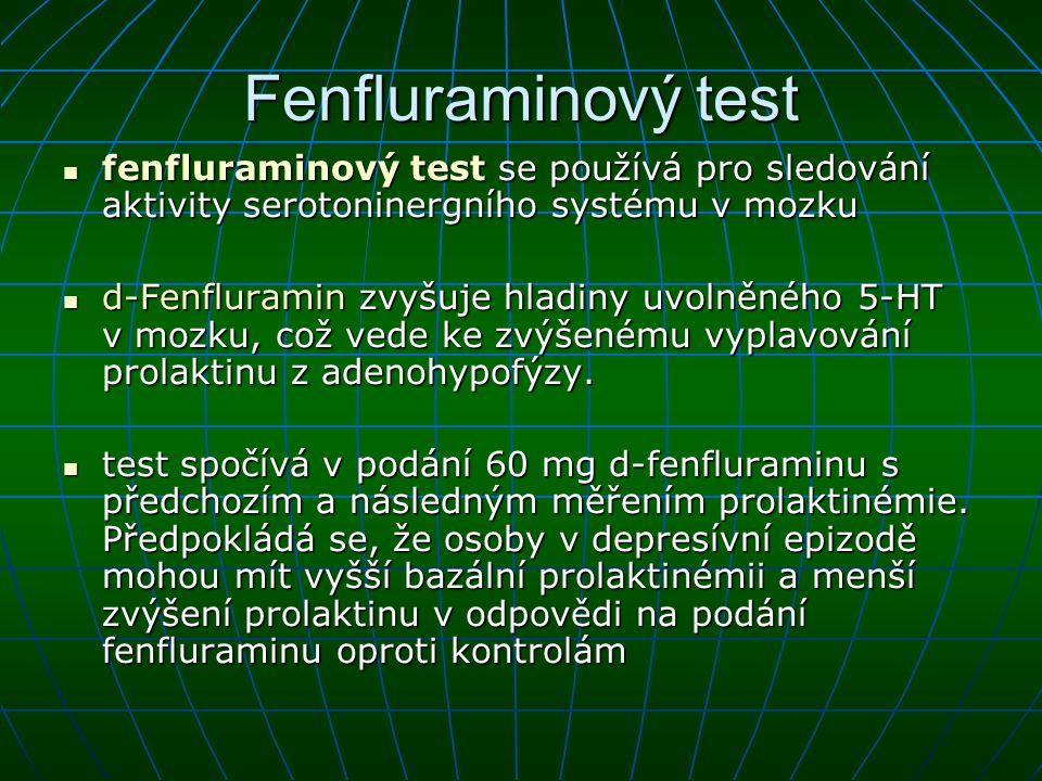 Fenfluraminový test fenfluraminový test se používá pro sledování aktivity serotoninergního systému v mozku fenfluraminový test se používá pro sledován
