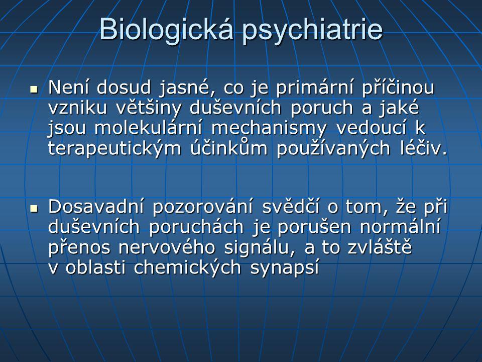 Biologická psychiatrie Není dosud jasné, co je primární příčinou vzniku většiny duševních poruch a jaké jsou molekulární mechanismy vedoucí k terapeut