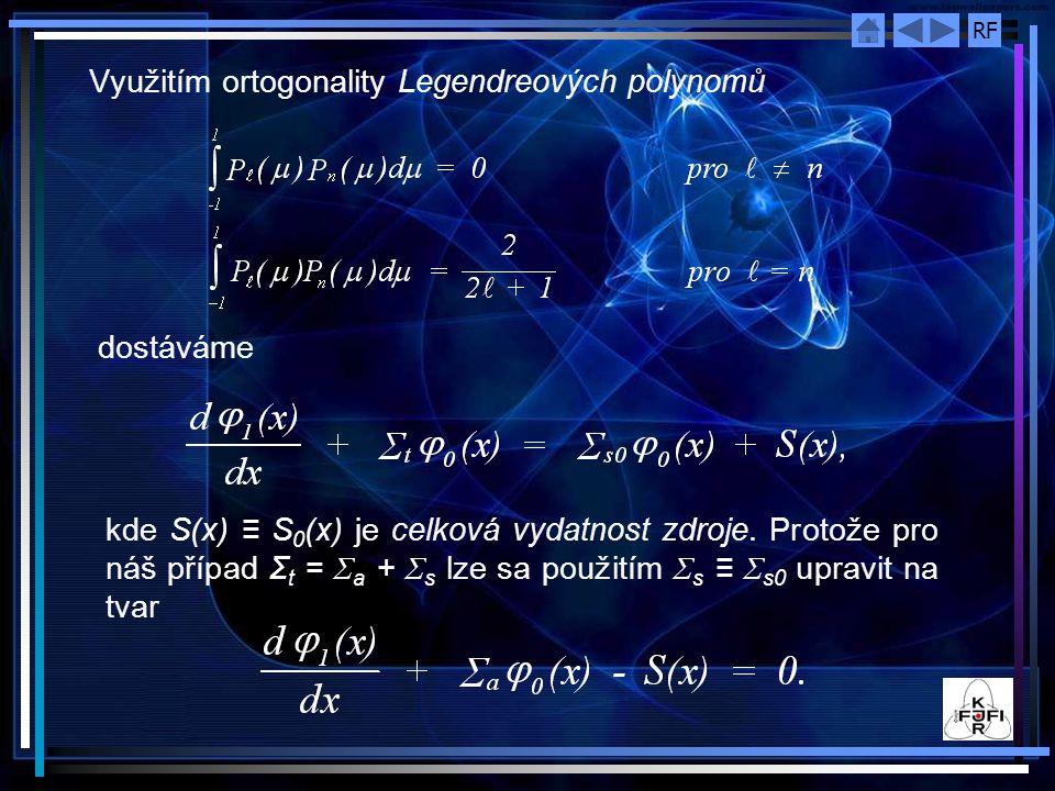 RF Využitím ortogonality Legendreových polynomů dostáváme kde S(x) ≡ S 0 (x) je celková vydatnost zdroje.