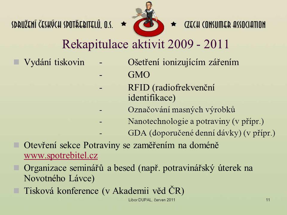 Libor DUPAL, červen 201111 Rekapitulace aktivit 2009 - 2011 Vydání tiskovin -Ošetření ionizujícím zářením -GMO -RFID (radiofrekvenční identifikace) -O