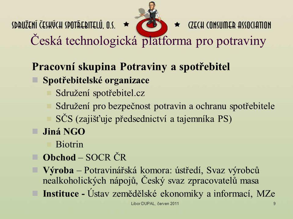 Libor DUPAL, červen 20119 Česká technologická platforma pro potraviny Pracovní skupina Potraviny a spotřebitel Spotřebitelské organizace Sdružení spot