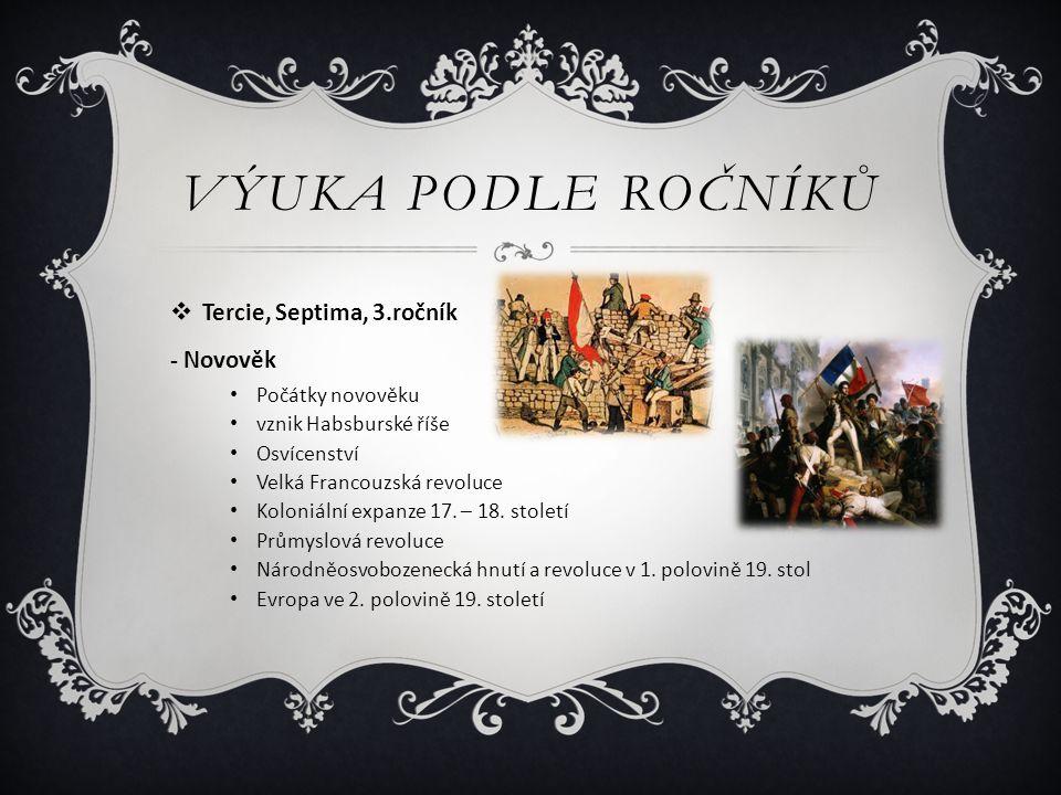 VÝUKA PODLE ROČNÍKŮ  Tercie, Septima, 3.ročník - Novověk Počátky novověku vznik Habsburské říše Osvícenství Velká Francouzská revoluce Koloniální exp