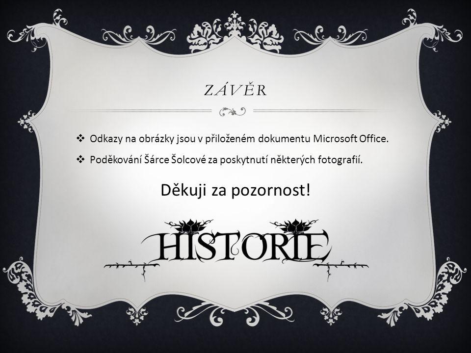 ZÁVĚR  Odkazy na obrázky jsou v přiloženém dokumentu Microsoft Office.  Poděkování Šárce Šolcové za poskytnutí některých fotografií. Děkuji za pozor