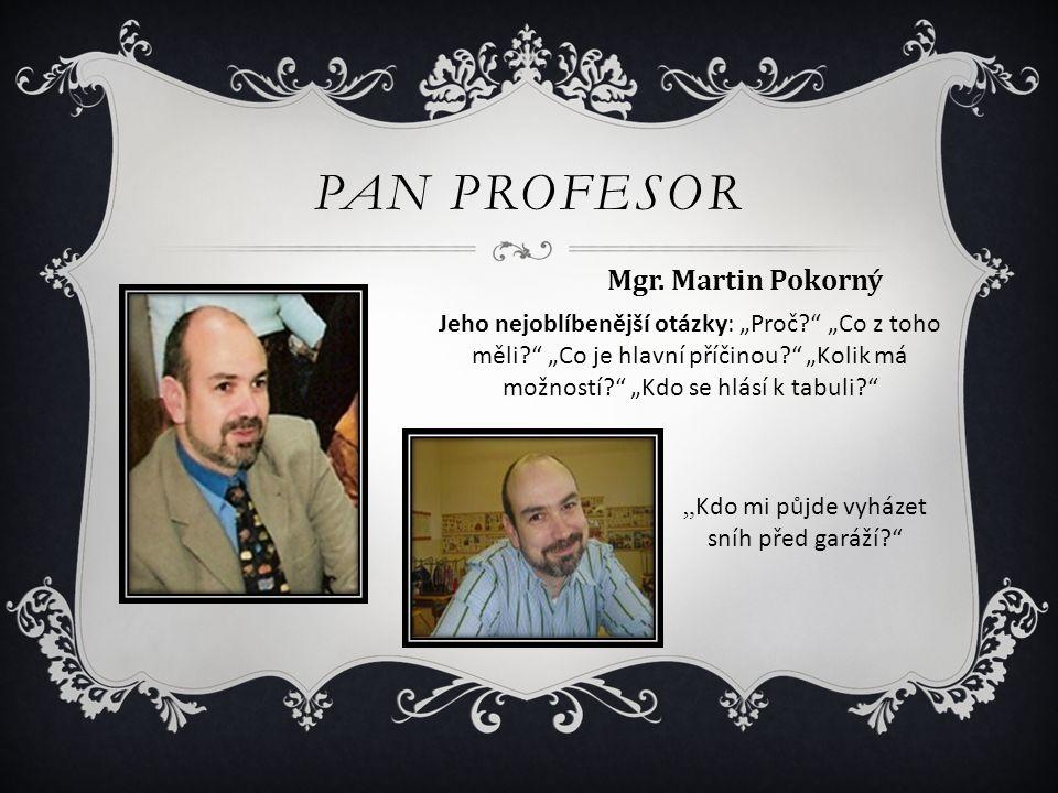 """PAN PROFESOR Mgr. Martin Pokorný Jeho nejoblíbenější otázky: """"Proč?"""" """"Co z toho měli?"""" """"Co je hlavní příčinou?"""" """"Kolik má možností?"""" """"Kdo se hlásí k t"""