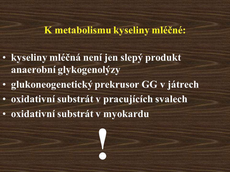 K metabolismu kyseliny mléčné: kyseliny mléčná není jen slepý produkt anaerobní glykogenolýzy glukoneogenetický prekrusor GG v játrech oxidativní substrát v pracujících svalech oxidativní substrát v myokardu !