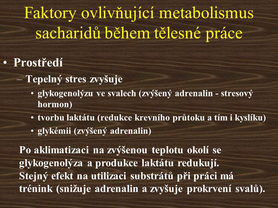 Faktory ovlivňující metabolismus sacharidů během tělesné práce Prostředí –Tepelný stres zvyšuje glykogenolýzu ve svalech (zvýšený adrenalin - stresový hormon) tvorbu laktátu (redukce krevního průtoku a tím i kyslíku) glykémii (zvýšený adrenalin) Po aklimatizaci na zvýšenou teplotu okolí se glykogenolýza a produkce laktátu redukují.