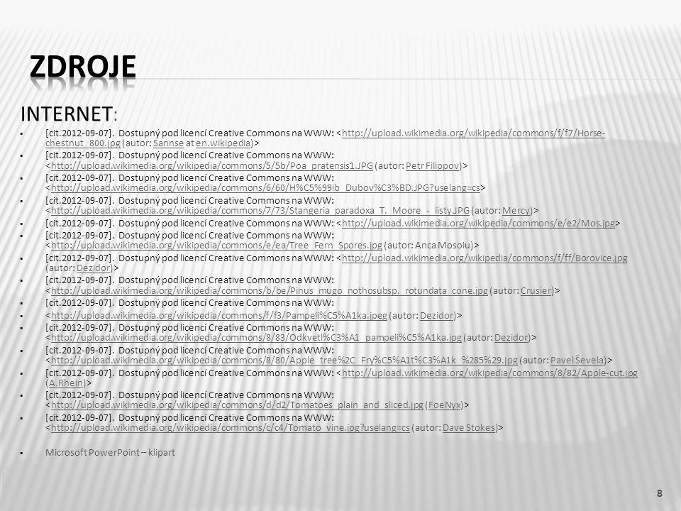 INTERNET :  [cit.2012-09-07]. Dostupný pod licencí Creative Commons na WWW: http://upload.wikimedia.org/wikipedia/commons/f/f7/Horse- chestnut_800.jp