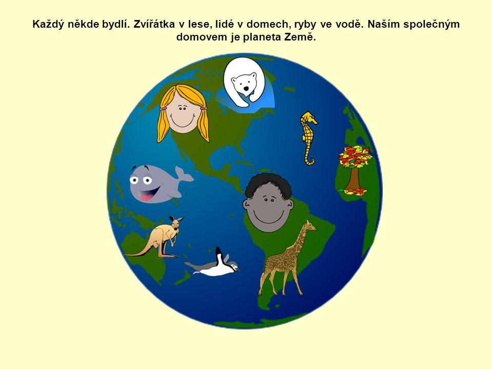 Každý někde bydlí. Zvířátka v lese, lidé v domech, ryby ve vodě. Naším společným domovem je planeta Země.