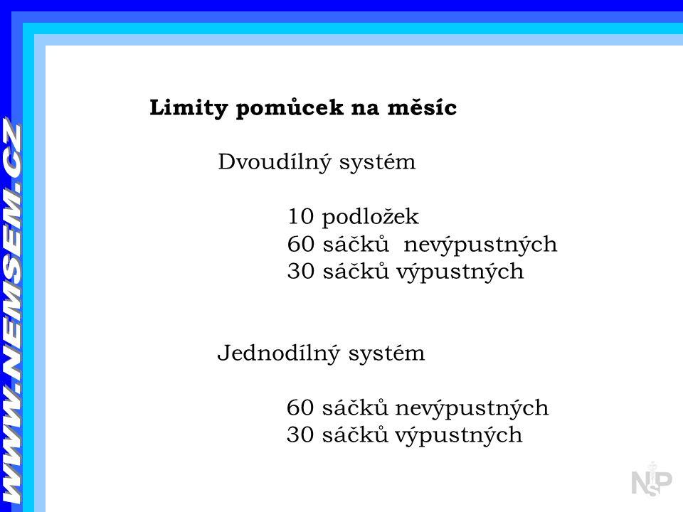 Limity pomůcek na měsíc Dvoudílný systém 10 podložek 60 sáčků nevýpustných 30 sáčků výpustných Jednodílný systém 60 sáčků nevýpustných 30 sáčků výpust
