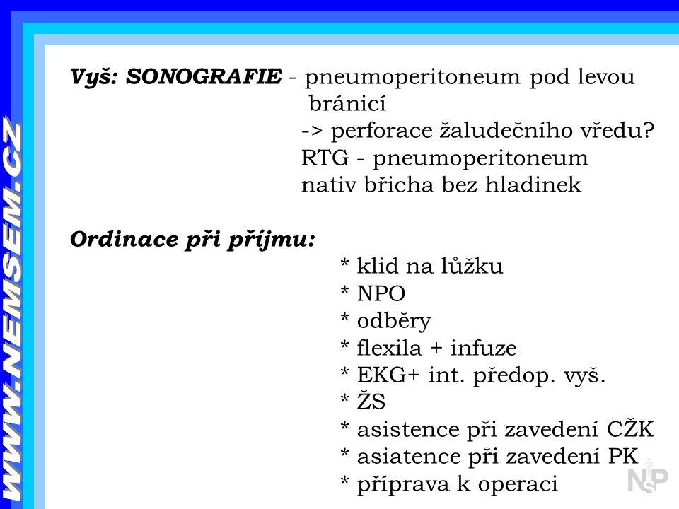 Vyš: SONOGRAFIE - pneumoperitoneum pod levou bránicí -> perforace žaludečního vředu? RTG - pneumoperitoneum nativ břicha bez hladinek Ordinace při pří