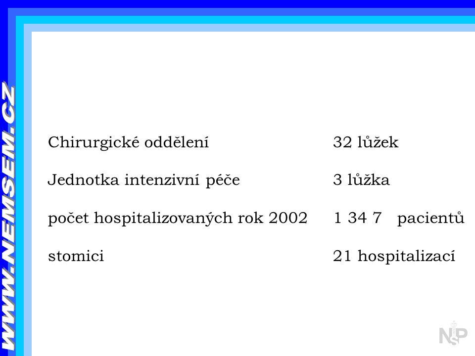 Chirurgické oddělení32 lůžek Jednotka intenzivní péče 3 lůžka počet hospitalizovaných rok 20021 34 7 pacientů stomici 21 hospitalizací
