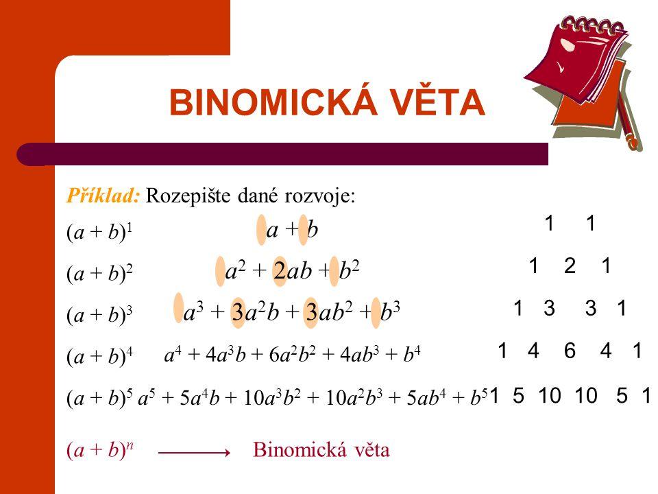 BINOMICKÁ VĚTA Pro všechna a, b a každé přirozené n platí Binomický rozvoj výrazu (a + b) n Poznámka: Místo názvu kombinační číslo používáme název binomický koeficient.