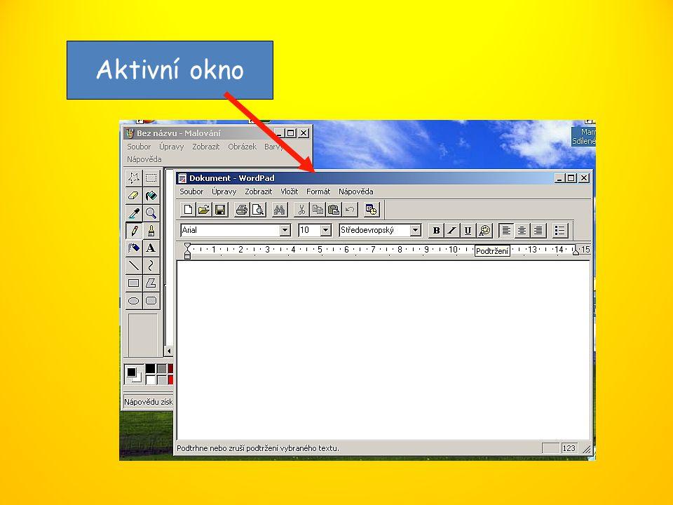 Typy oken Aplikační okno Okno složky (adresáře) Konfigurační okno Informační okno