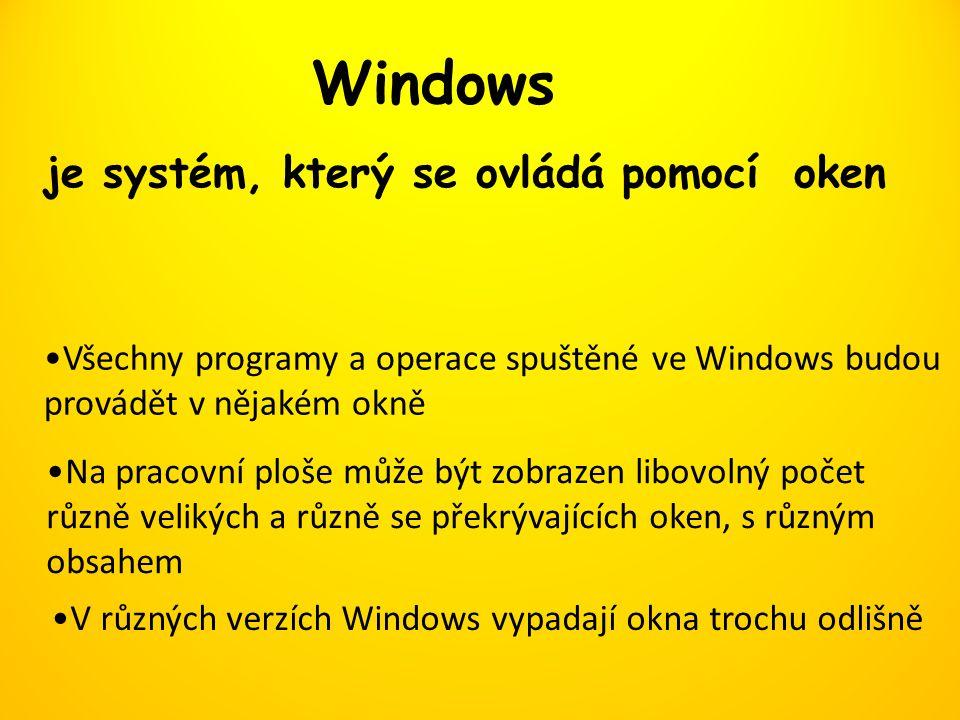 Windows je systém, který se ovládá pomocí oken Všechny programy a operace spuštěné ve Windows budou provádět v nějakém okně Na pracovní ploše může být