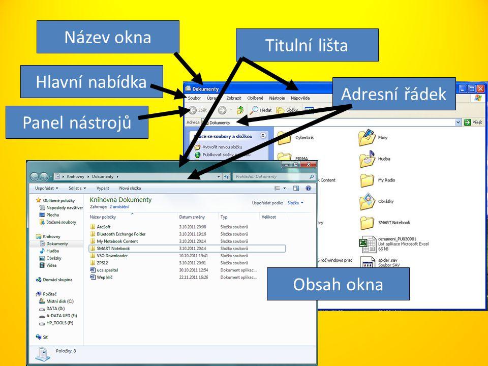 Hlavní nabídka Panel nástrojů Titulní lišta Adresní řádek Název okna Obsah okna