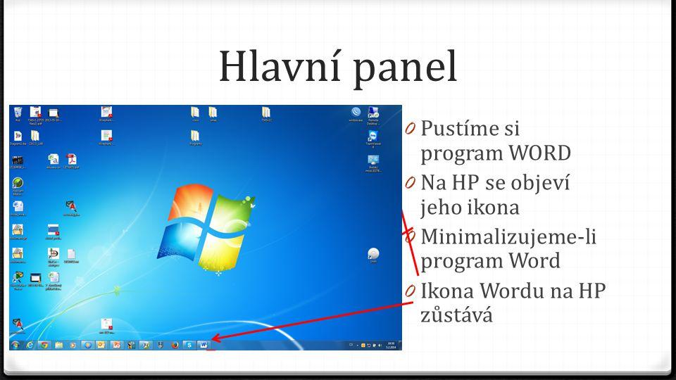 """Hlavní panel 0 Pokud Word zavřeme, ikona z hlavního panelu zmizí 0 Pokud program pouštíme častěji, je vhodné, aby ikona programu na hlavním panelu zůstala i po zavření programu 0 Toho dosáhneme """"Připnutím programu na hlavní panel"""
