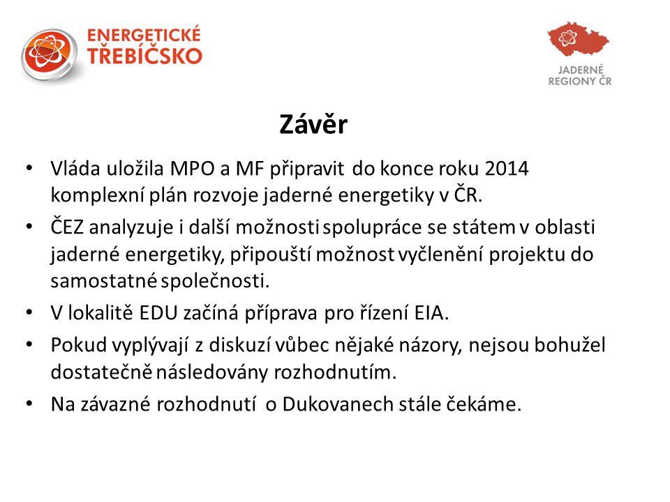 Závěr Vláda uložila MPO a MF připravit do konce roku 2014 komplexní plán rozvoje jaderné energetiky v ČR.