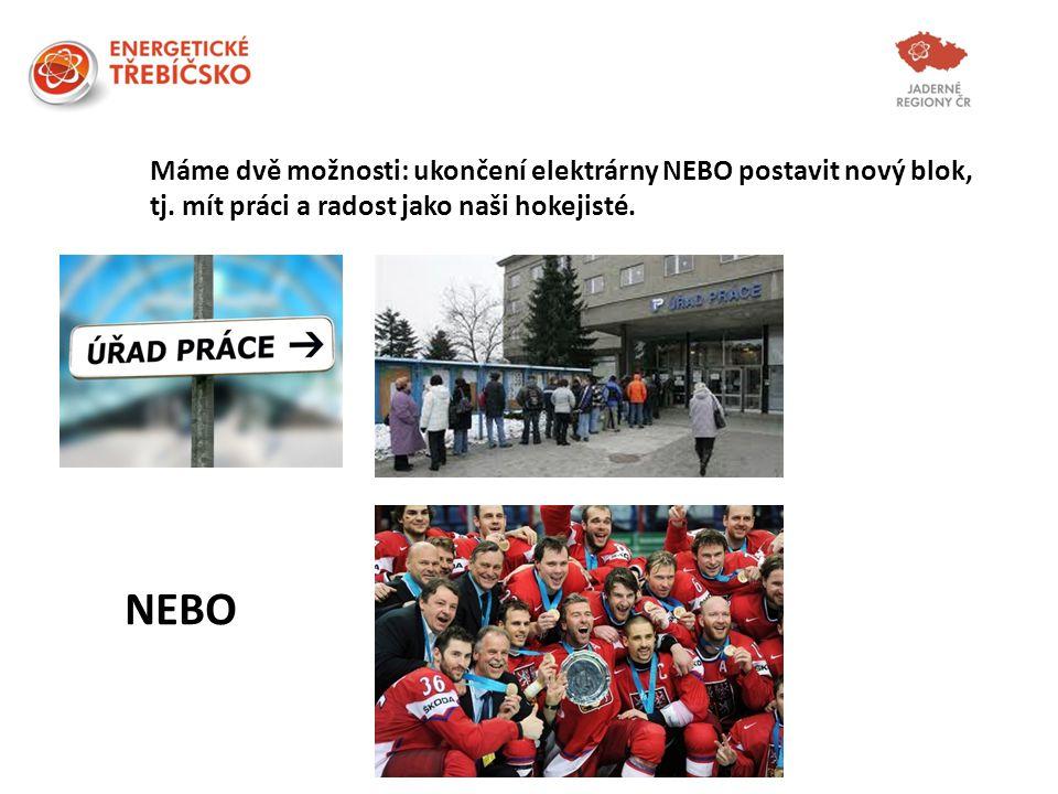 NEBO Máme dvě možnosti: ukončení elektrárny NEBO postavit nový blok, tj. mít práci a radost jako naši hokejisté.