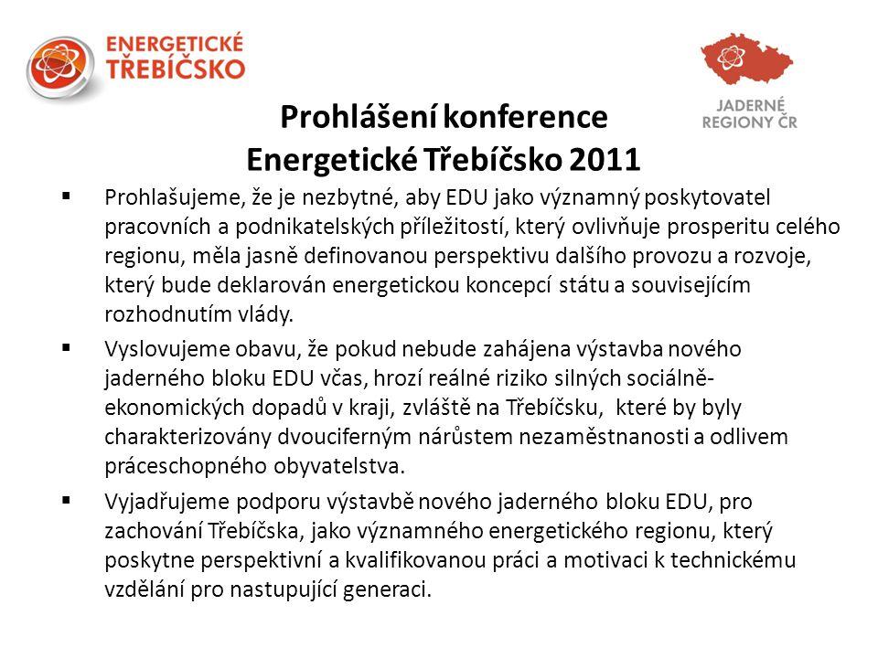 Prohlášení konference Energetické Třebíčsko 2011  Prohlašujeme, že je nezbytné, aby EDU jako významný poskytovatel pracovních a podnikatelských příle