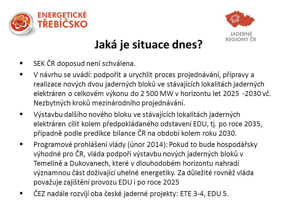 Jaká je situace dnes?  SEK ČR doposud není schválena.  V návrhu se uvádí: podpořit a urychlit proces projednávání, přípravy a realizace nových dvou