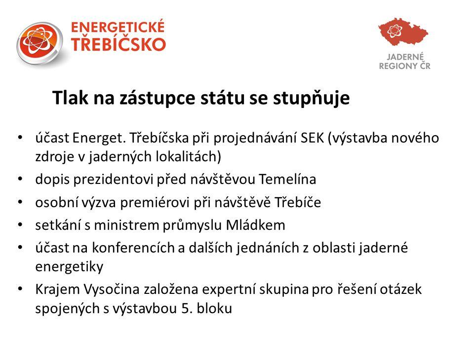 Tlak na zástupce státu se stupňuje účast Energet. Třebíčska při projednávání SEK (výstavba nového zdroje v jaderných lokalitách) dopis prezidentovi př