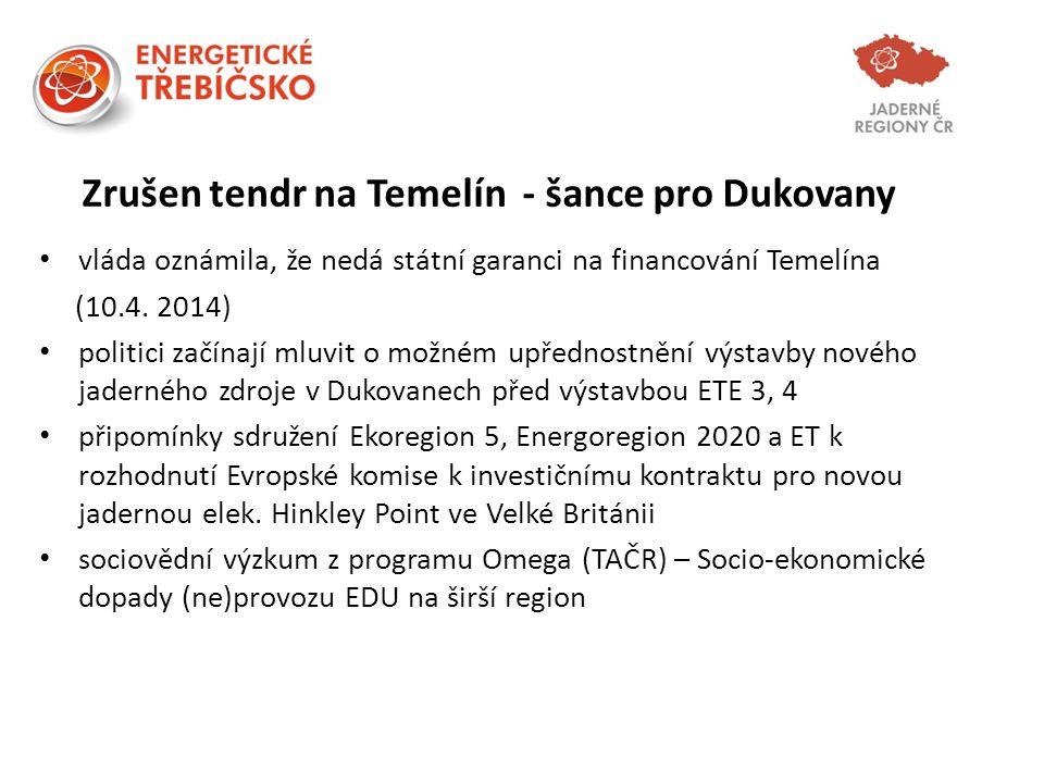 Zrušen tendr na Temelín - šance pro Dukovany vláda oznámila, že nedá státní garanci na financování Temelína (10.4. 2014) politici začínají mluvit o mo