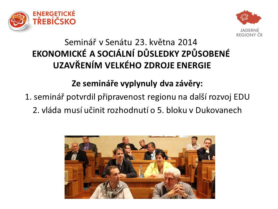 Seminář v Senátu 23. května 2014 EKONOMICKÉ A SOCIÁLNÍ DŮSLEDKY ZPŮSOBENÉ UZAVŘENÍM VELKÉHO ZDROJE ENERGIE Ze semináře vyplynuly dva závěry: 1. seminá