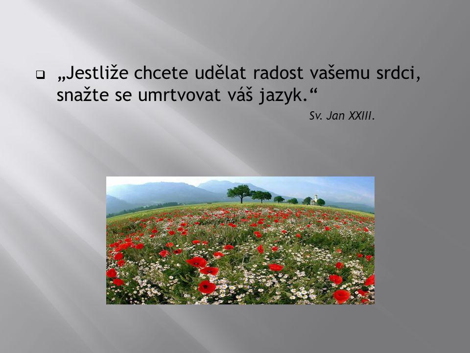 """ """"Jestliže chcete udělat radost vašemu srdci, snažte se umrtvovat váš jazyk."""" Sv. Jan XXIII."""
