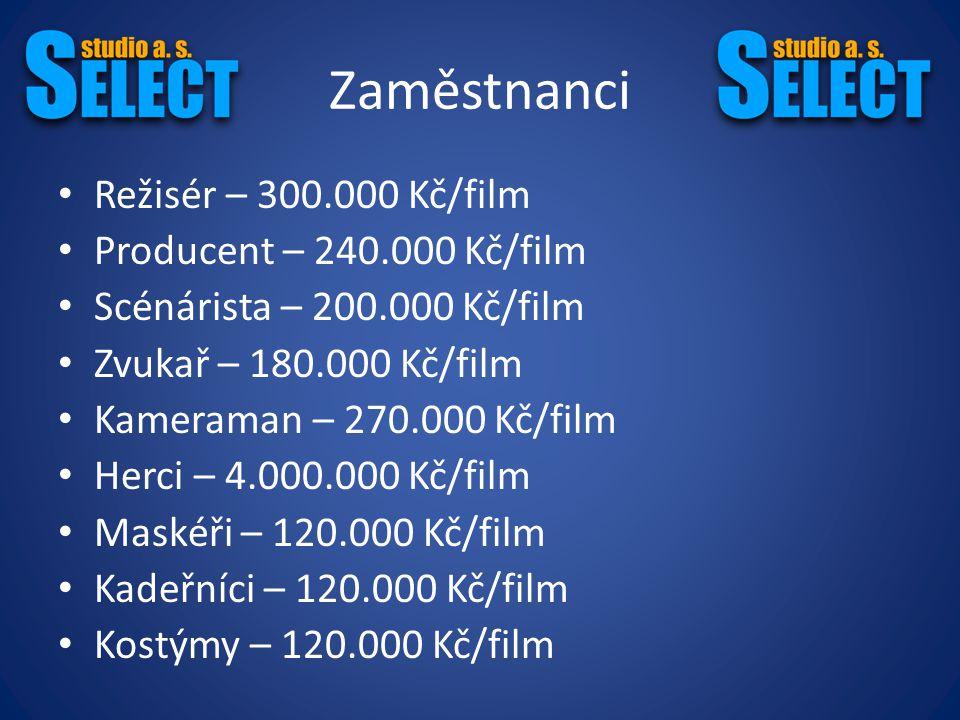 Rozpočet (Výdaje) Úklid – 18.000 Kč/film Střih – 100.000 Kč/film Pronájmy lokací na natáčení – 500.000 Kč/film Auto (pojistné smlouvy a pohonné hmoty) – 100.000 Kč/film Celkem (včetně herců): 5.798.000 Kč/film