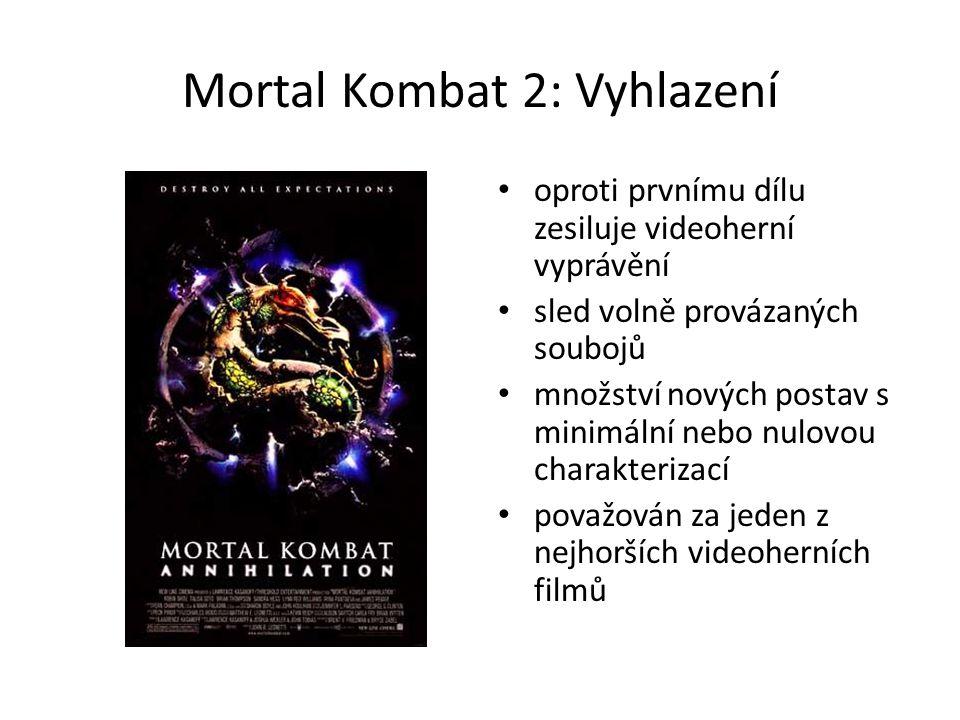 Mortal Kombat 2: Vyhlazení oproti prvnímu dílu zesiluje videoherní vyprávění sled volně provázaných soubojů množství nových postav s minimální nebo nulovou charakterizací považován za jeden z nejhorších videoherních filmů