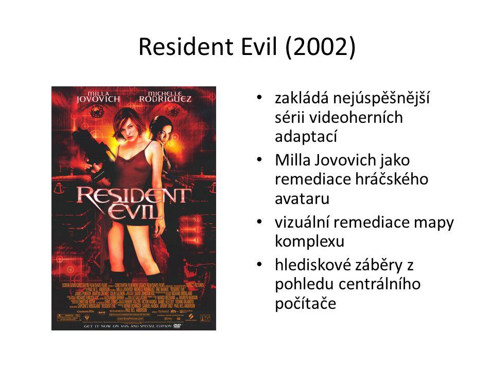 Resident Evil (2002) zakládá nejúspěšnější sérii videoherních adaptací Milla Jovovich jako remediace hráčského avataru vizuální remediace mapy komplexu hlediskové záběry z pohledu centrálního počítače