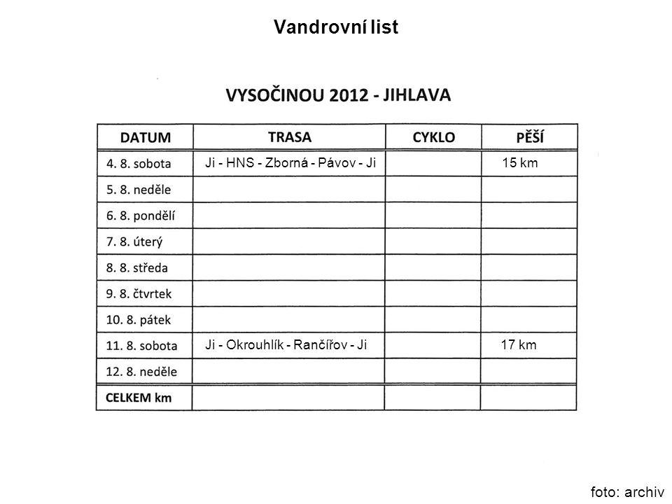 foto: archiv Vandrovní list Ji - HNS - Zborná - Pávov - Ji 15 km Ji - Okrouhlík - Rančířov - Ji 17 km