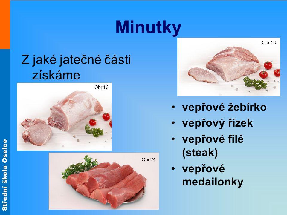 Střední škola Oselce Minutky Z jaké jatečné části získáme vepřové žebírko vepřový řízek vepřové filé (steak) vepřové medailonky Obr.16 Obr.18 Obr.24