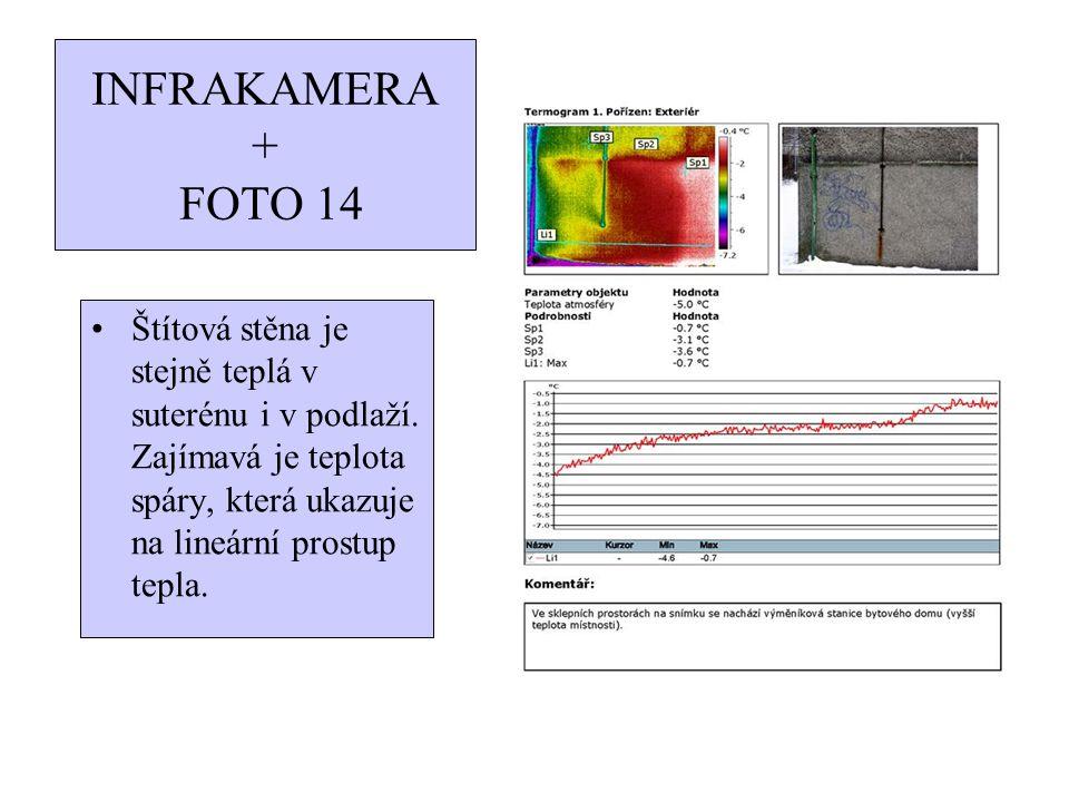 INFRAKAMERA + FOTO 14 Štítová stěna je stejně teplá v suterénu i v podlaží. Zajímavá je teplota spáry, která ukazuje na lineární prostup tepla.