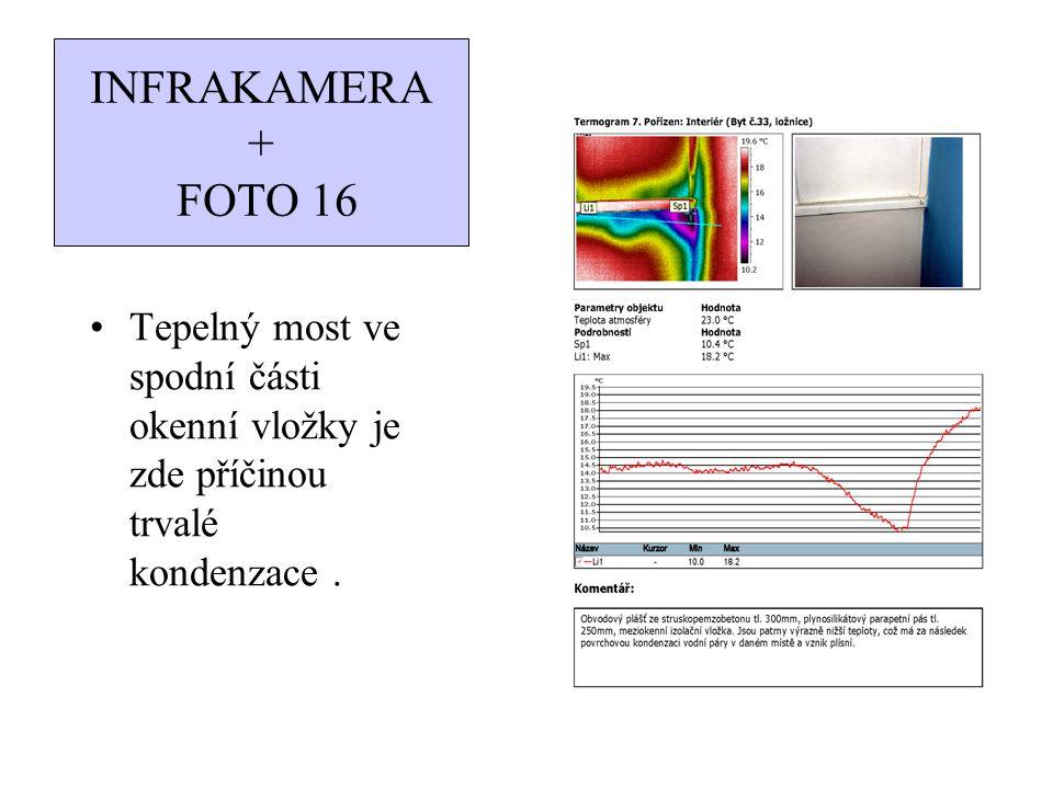 INFRAKAMERA + FOTO 16 Tepelný most ve spodní části okenní vložky je zde příčinou trvalé kondenzace.