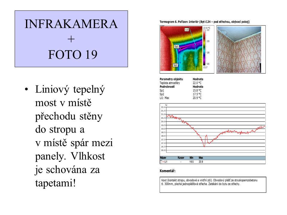 INFRAKAMERA + FOTO 19 Liniový tepelný most v místě přechodu stěny do stropu a v místě spár mezi panely. Vlhkost je schována za tapetami!