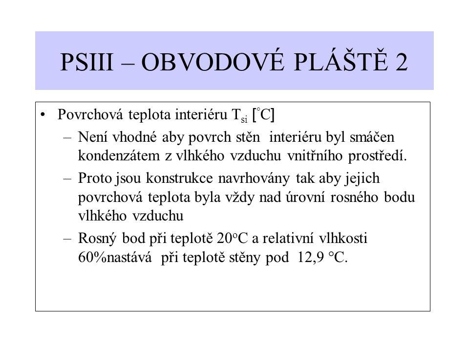 PSIII – OBVODOVÉ PLÁŠTĚ 2 Povrchová teplota interiéru T si [ ° C ] –Není vhodné aby povrch stěn interiéru byl smáčen kondenzátem z vlhkého vzduchu vni