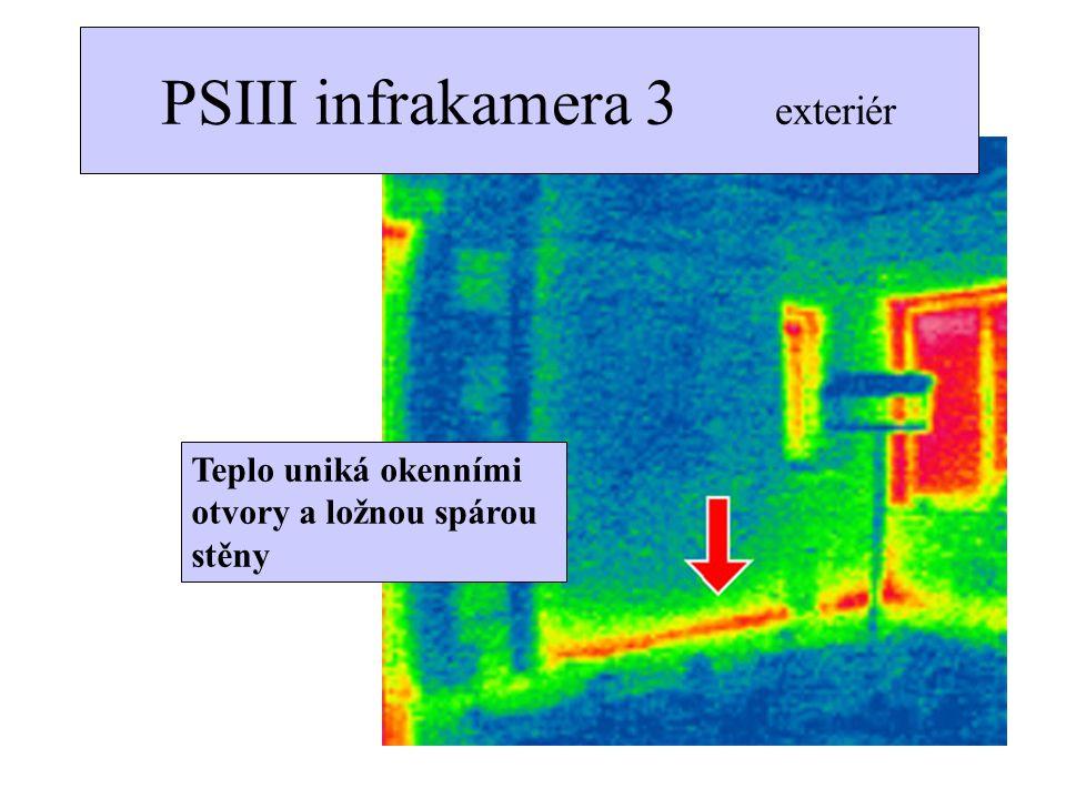 Teplo uniká okenními otvory a ložnou spárou stěny PSIII infrakamera 3 exteriér