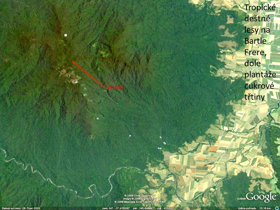 Tropické deštné lesy na Bartle Frere, dole plantáže cukrové třtiny vrchol