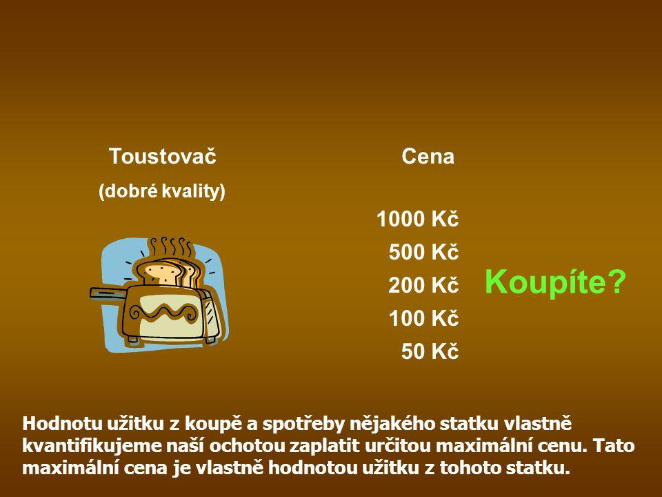Toustovač (dobré kvality) Cena 1000 Kč 50 Kč 100 Kč 200 Kč 500 Kč Koupíte? Hodnotu užitku z koupě a spotřeby nějakého statku vlastně kvantifikujeme na