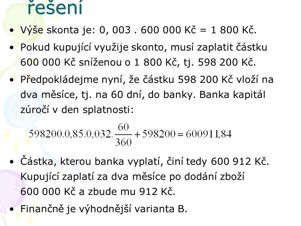 Výše skonta je: 0, 003. 600 000 Kč = 1 800 Kč.