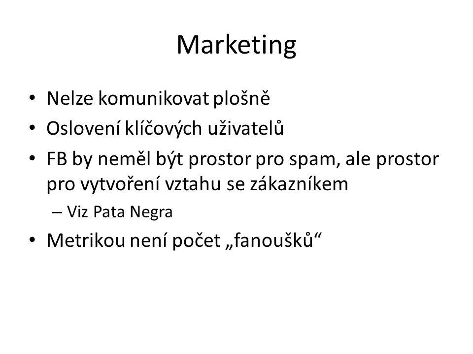 Marketing Nelze komunikovat plošně Oslovení klíčových uživatelů FB by neměl být prostor pro spam, ale prostor pro vytvoření vztahu se zákazníkem – Viz