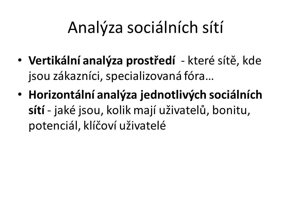 Analýza sociálních sítí Vertikální analýza prostředí - které sítě, kde jsou zákazníci, specializovaná fóra… Horizontální analýza jednotlivých sociální