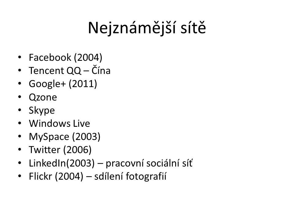 Nejznámější sítě Facebook (2004) Tencent QQ – Čína Google+ (2011) Qzone Skype Windows Live MySpace (2003) Twitter (2006) LinkedIn(2003) – pracovní soc
