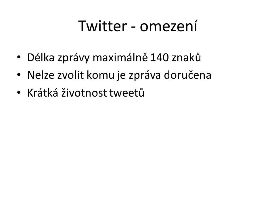 Twitter - omezení Délka zprávy maximálně 140 znaků Nelze zvolit komu je zpráva doručena Krátká životnost tweetů