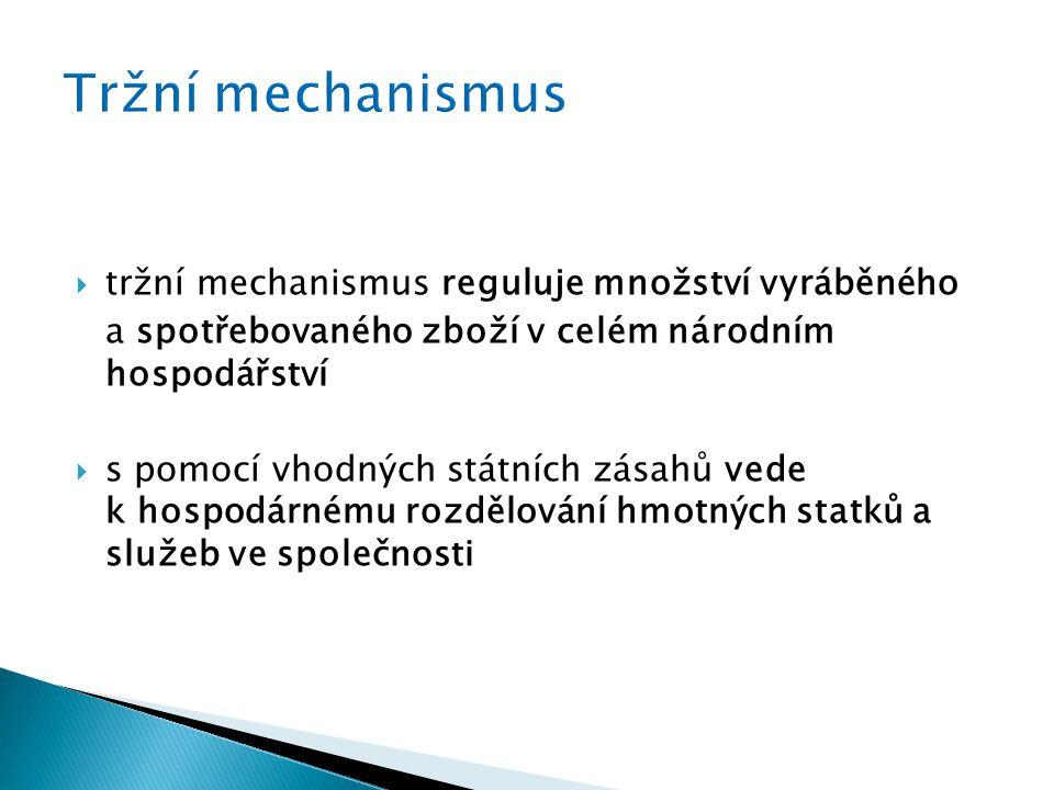  tržní mechanismus reguluje množství vyráběného a spotřebovaného zboží v celém národním hospodářství  s pomocí vhodných státních zásahů vede k hospodárnému rozdělování hmotných statků a služeb ve společnosti